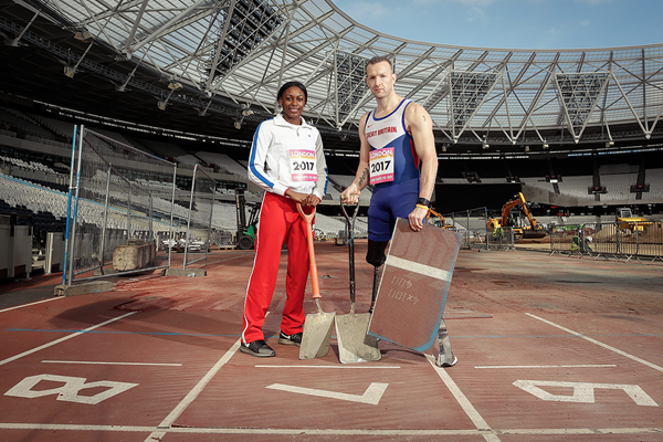 Perri Shakes-Drayton and Richard Whitehead at the Olympic Stadium in London (London 2017 LOC)