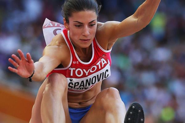 Ivana Spanovic in the long jump qualification at the IAAF World Championships, Beijing 2015 (Getty Images)