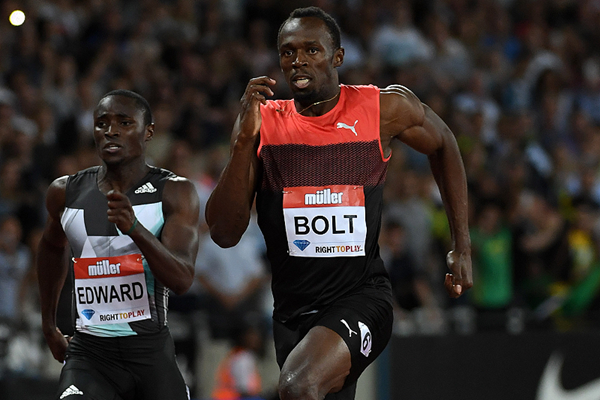 Usain Bolt in the 200m at the IAAF Diamond League meeting in London (Kirby Lee)
