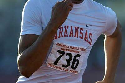 Wallace Spearmon at last summer's NCAA outdoors in the 200m which he won (Kirby Lee)