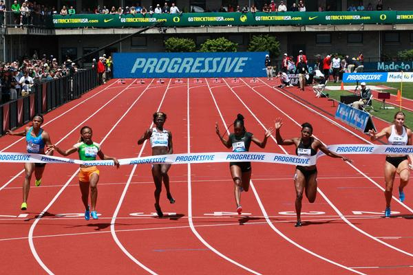 Marie-Josee Ta Lou takes the 100m showdown at the IAAF Diamond League meeting in Eugene (Victah Sailer)
