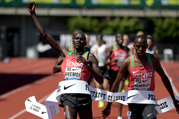 Ronald Kwemoi wins the Bowerman Mile at the IAAF Diamond League meeting in Eugene (Kirby Lee)