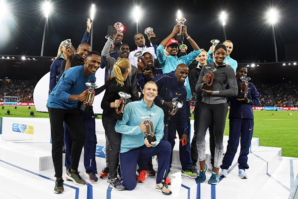 The first 16 Diamond Trophy winners of 2017 at the end of the IAAF Diamond League final in Zurich (Gladys Chai von der Laage)