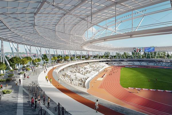 A rendering of Budapest's National Athletics Centre in legacy mode (Axiom Visual)