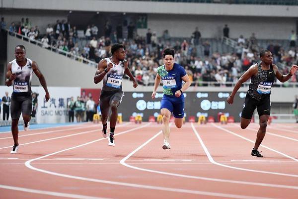 Noah Lyles wins the 100m at the IAAF Diamond League meeting in Shanghai (Errol Anderson)