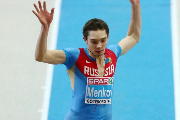 Aleksandr Menkov jumps a world-leading 8.31m to win the Long Jump at the European Indoor Championships (Getty Images)