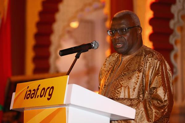 IAAF President Diack speaking at the welcome dinner ahead of the 2014 IAAF Continental Cup, Marrkech 2014 (Getty Images)