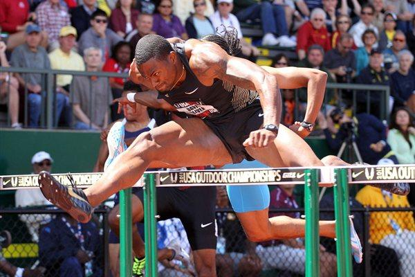 David Oliver en route to a 13.04 win in Eugene (Getty Images)