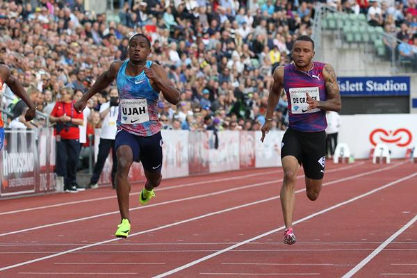 Andre de Grasse (r) taking a narrow 100m victory in Oslo (Jean Pierre Durand)