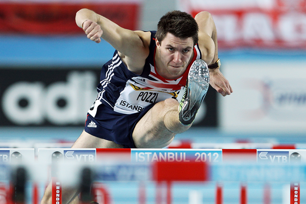Andy Pozzi in the 60m hurdles at the IAAF World Indoor Championships Istanbul 2012 (Getty Images)