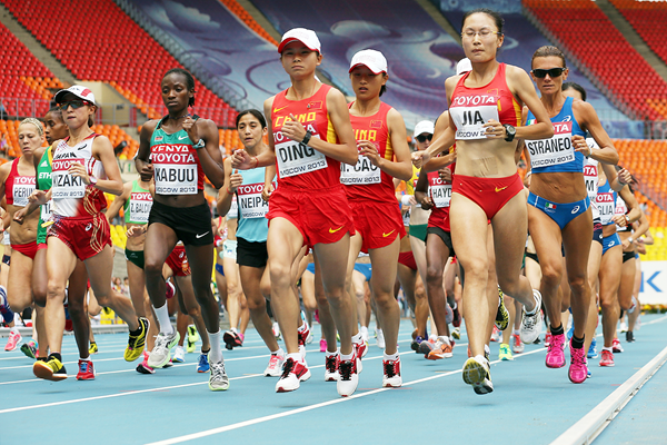 Athletes in action in the marathon at the IAAF World Championships (Getty Images)
