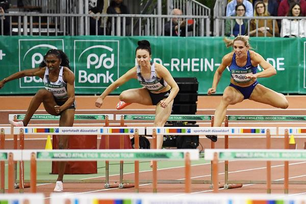 Christina Clemons (left) on her way to winning the 60m hurdles at the World Athletics Indoor Tour meeting in Dusseldorf (Gladys Chai von der Laage)