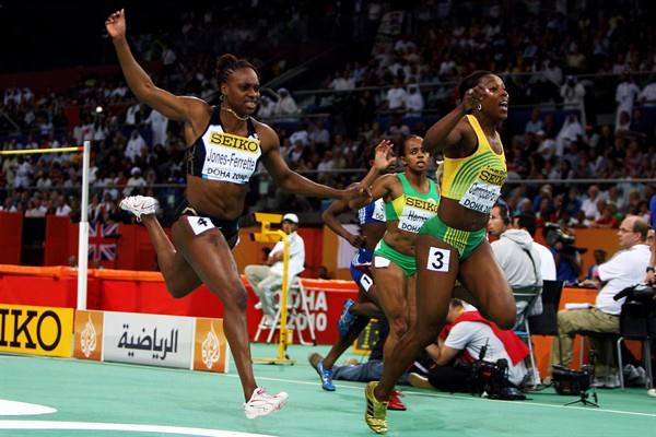 Veronica Campbell-Brown of Jamaica wins the women's 60m title in Doha beating pre-race favourite LaVerne Jones-Ferrette (Getty Images)