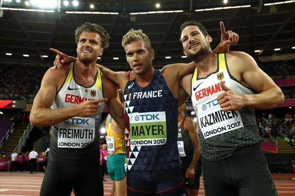 Decathlon medallists Kevin Mayer, Rico Freimuth and Kai Kazmirek at the IAAF World Championships London 2017 (Getty Images)