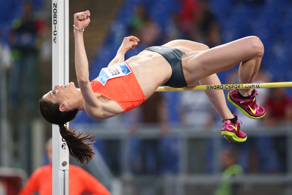 High jump winner Ruth Beitia at the IAAF Diamond League meeting in Rome (Gladys von der Laage)