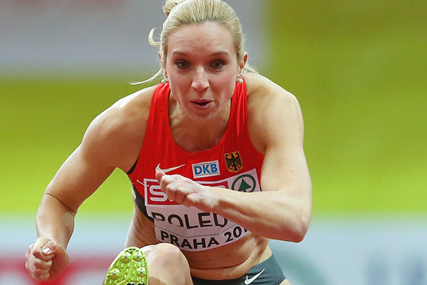 Cindy Roleder in action in the 60m hurdles (Getty Images)