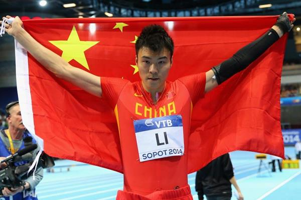 Long jump silver medallist Li Jinzhe at the 2014 IAAF World Indoor Championships in Sopot (Getty Images)