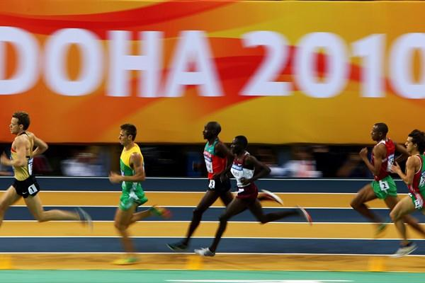 Athletes compete in the 1500m heats during the 13th IAAF World Indoor Championships in Athletics (Getty Images)