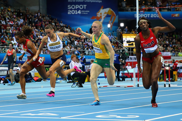 (f.r.t.l.) Nia Ali, Sally Pearson, Cindy Billaud and Janay DeLoach in the 60m hurdles final at Sopot 2014 ()