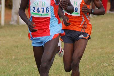 Moses Kosorio (l) leading Levi Matebo in the junior race; Matebo sprinted to the victory - Kenyan Cross Country Championships (Ricky Simms)