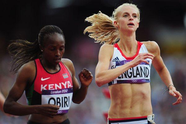 Hellen Onsando Obiri of Kenya and Hannah England of Great Britain compete in the Women's 1500m heat on Day 10 of the London 2012 Olympic Games on 06 August 2012 (Getty Images)
