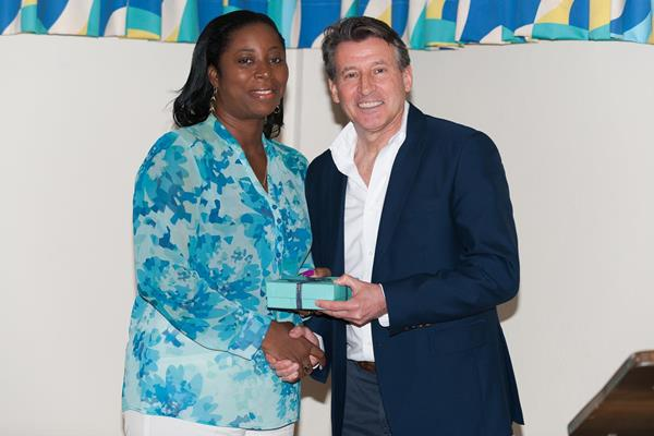 IAAF President Coe with Grenada's Minister of Sports, Youth and Religious affairs Emmalin Pierre, who opened the Congress (CARIFTA)