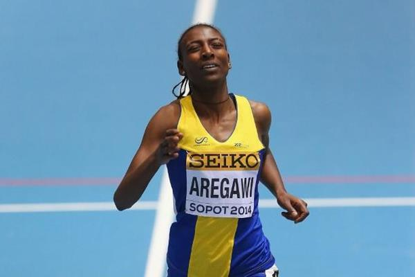 Abeba Aregawi winning the 1500m at the 2014 IAAF World Indoor Championships (Getty Images)