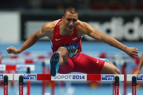 Ashton Eaton in the heptathlon 60m hurdles at the 2014 IAAF World Indoor Championships in Sopot (Getty Images)
