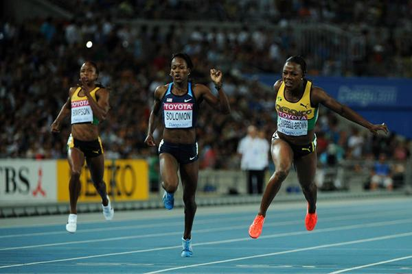 Veronica Campbell-Brown of Jamaica wins the women's 200 metres final ahead of Shalonda Solomon of the USA  (Getty Images)