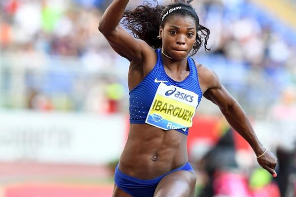 Caterine Ibarguen at the 2016 IAAF Diamond League meeting in Rome (Gladys Chai)