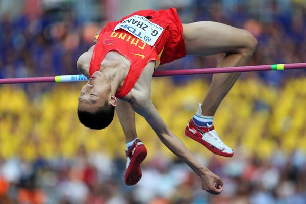 Zhang Guowei in the high jump at the IAAF World Championships (Getty Images)