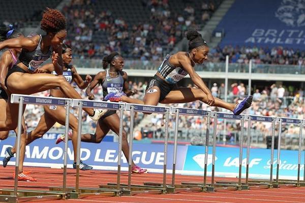 Kendra Harrison en route to victory in Birmingham (Jean-Pierre Durand)