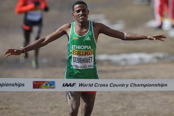 Hagos Gebrhiwet (ETH) wins the junior men's race at the 2013 IAAF World Cross Country Championships, Bydgoszcz, Poland (Getty Images)