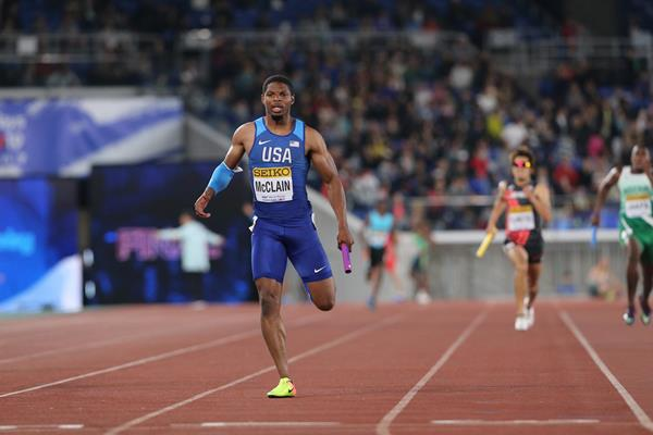 USA's Remontay McLain in the men's 4x200m at the IAAF World Relays Yokohama 2019 (Roger Sedres)