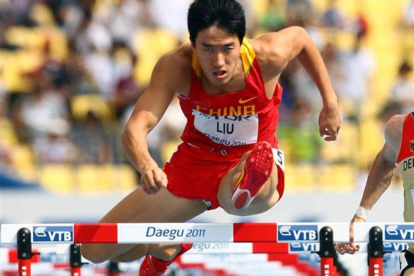 Liu Xiang of China competes in the men's 110 metres hurdles heats during day two  (Getty Images)