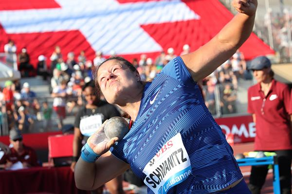 Christina Schwanitz wins the shot put at the IAAF Diamond League meeting in Lausanne (Giancarlo Colombo)