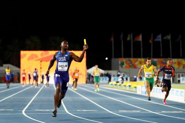 Justin Gatlin celebrates after anchoring the US men's 4x100m team to victory at the IAAF/BTC World Relays Bahamas 2017  (Getty Images)