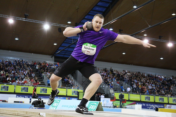 Tim Nedow, winner of the shot put at the Indoor Meeting Karlsruhe (Jean-Pierre Durand)