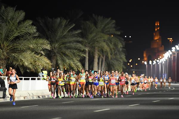 Competitors in the women's marathon at the IAAF World Athletics Championships Doha 2019 (Getty Images)