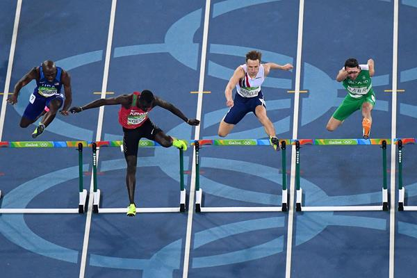 Karsten Warholm (second from right) in the 400m hurdles at the Olympic Games (Getty Images)