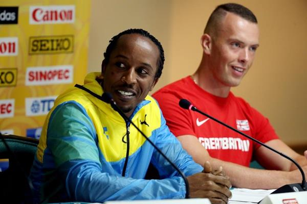 Chris Brown and Richard Kilty at the IAAF/BTC World Relays, Bahamas 2015 press conference (Getty Images)