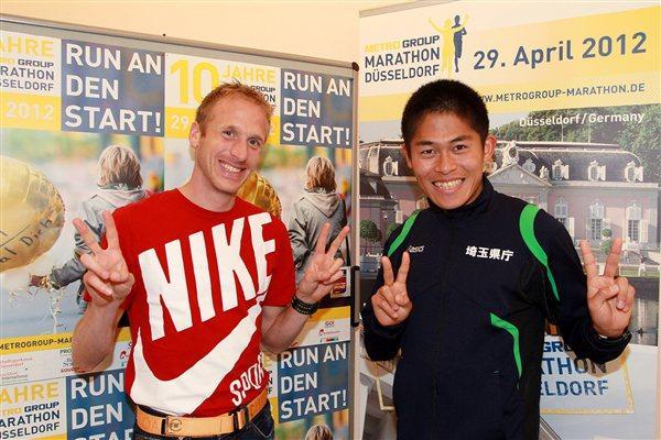 Jan Fitchen and Yuki Kamauchi at the MetroGroup Dusseldorf Marathon Press Conference (Victah Sailer)