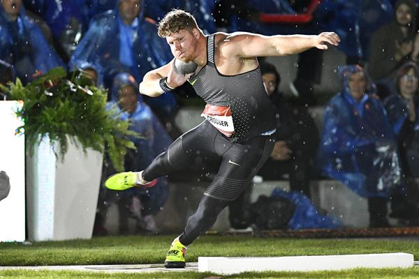 Ryan Crouser winning at the IAAF World Challenge Meeting in Zagreb (Organisers)