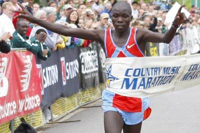 Sylvester Chebii (KEN) winning the Country Music Marathon in 2:14:27 (Country Music Marathon organisers)
