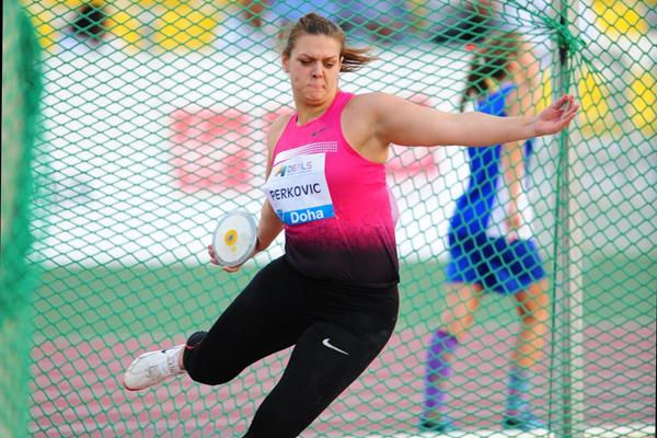 Sandra Perkovic smashes the meeting record in the Discus at the 2013 Doha Diamond League (Errol Anderson)