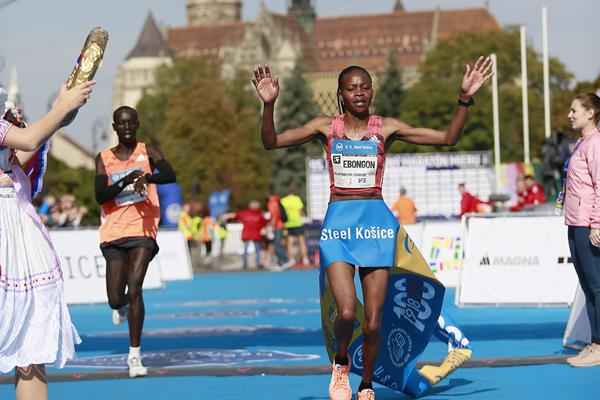 Milliam Ebongon winning the Kosice Peace Marathon (Organisers)