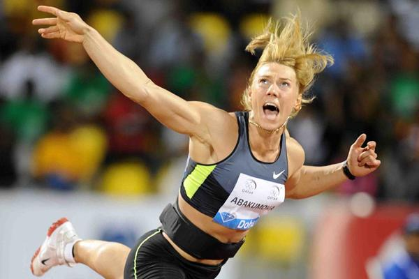 Mariya Abakumova wins the Javelin at the Samsung Diamond League in Doha (Jiro Mochizuki)