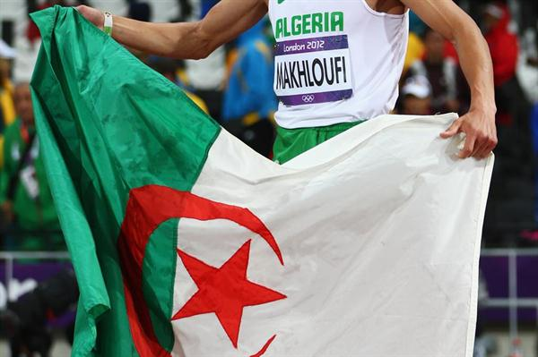Taoufik Makhloufi of Algeria celebrates being gold medallist in the Men's 1500m Final on Day 11 of the London 2012 Olympic Games at Olympic Stadium on August 7, 2012  (Getty Images)
