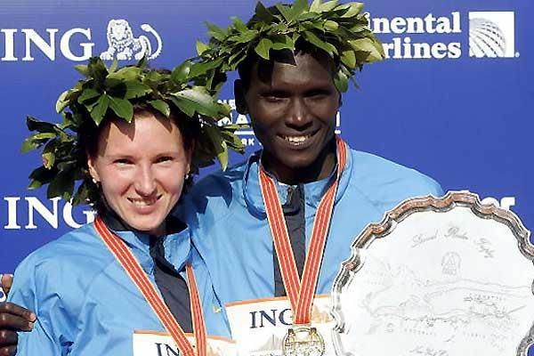 2005 ING New York Marathon winners - Tergat and Prokopcuka (Getty Images)