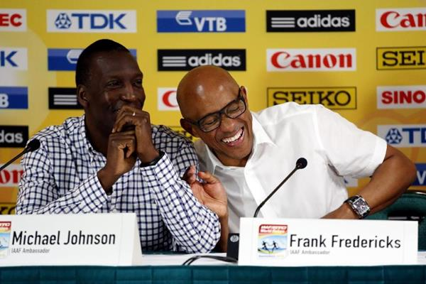 Michael Johnson and Frankie Fredericks at the IAAF/BTC World Relays, Bahamas 2015 press conference (Getty Images)